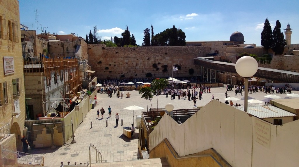 "This is the so-called ""Western Wall"" in the old city of Jerusalem. It was amazing, both because it was smaller than I expected, and because essentially no one was visiting on this day."