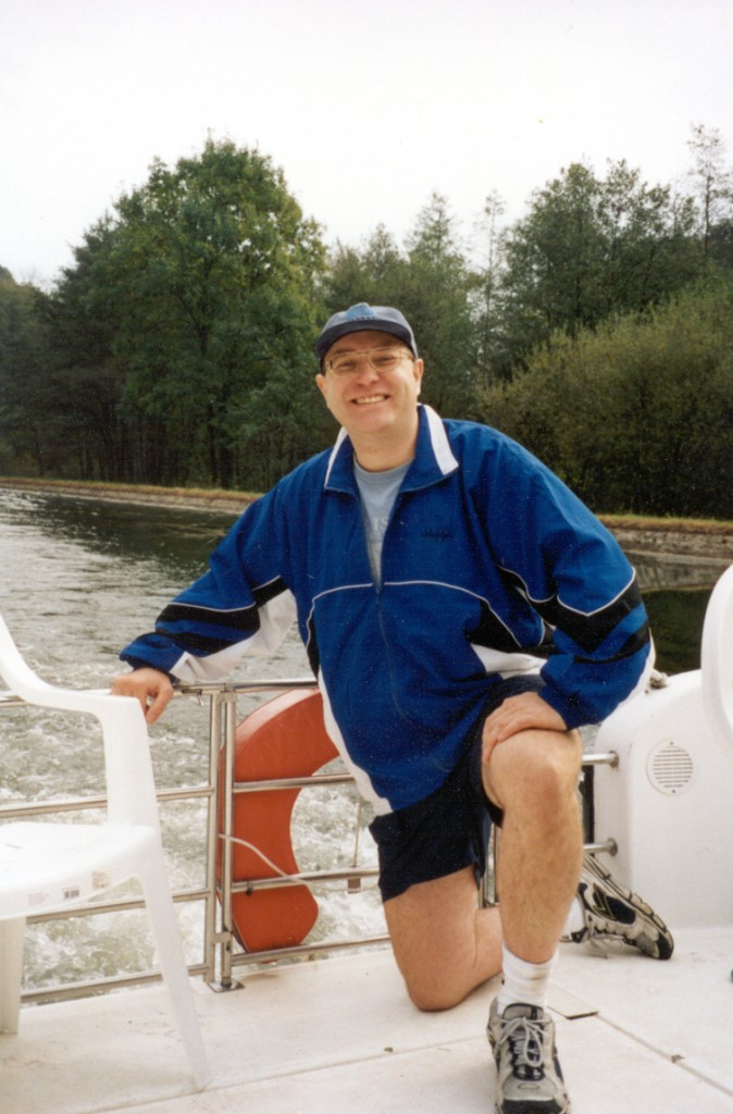 This is a recent photo of me, as skipper of a 30-foot houseboat in France. We travelled from Alsace to Lorraine along the historic Canale du Marne. Even today France has a wonderful, easy-to-navigate and very-well-maintained network of canals that are accessible to boaters of all levels.